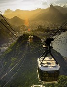image of overhead cable car in rio de janeiro in brazil