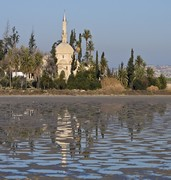 image of the hala sultan tekke mosque in larnaca in cyprus
