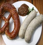 image of munchner weisswurst and sausage in munich in germany