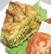 image of traditional greek spinach pie in thessaloniki in greece