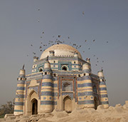 image of pigeons and the tomb of uch in multan in pakistan