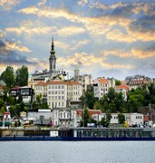 image of view for belgrade from the river in serbia