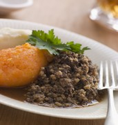 image of plate of haggis neeps and tatties in glasgow in uk
