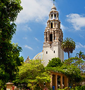 image of bell tower balboa in san diego in usa