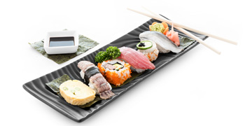 A selection of different types of sushi.