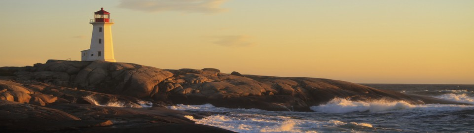 image of peggys cove lighthouse at dusk halifax in canada