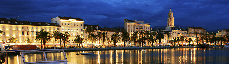 image of split city by night in croatia