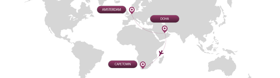 image of route map for flight from amsterdam to cape town