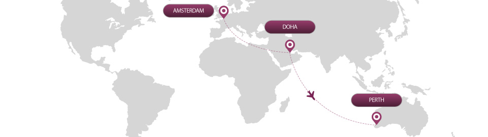 image of route map for flight from amsterdam to perth