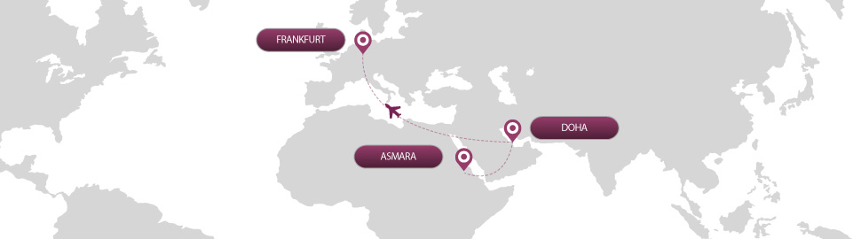 image of route map for flights from asmara to frankfurt