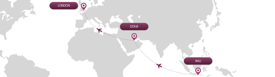 image of route map for flights from bali to london