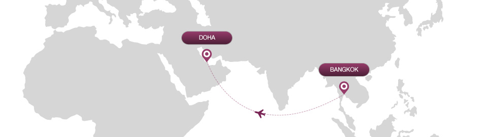 image of route map for flights from bangkok to doha