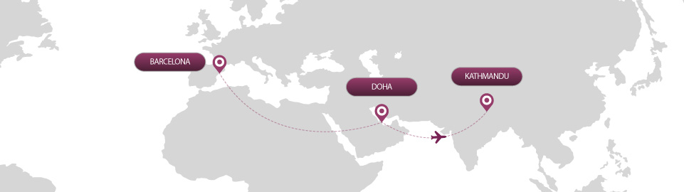 image of route map for flights from barcelona to kathmandu