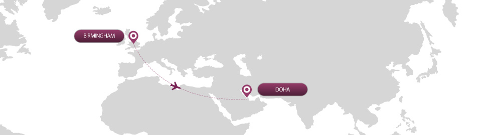 image of route map for flights from birmingham to doha