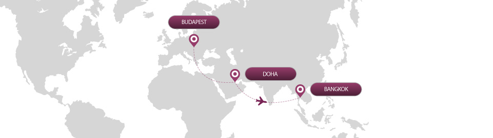 image of route map for flights from budapest to bangkok