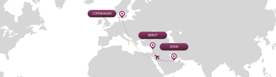image of route map for flights from copenhagen to beirut