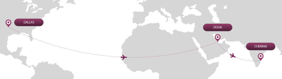 image of route map for flights from dallas to chennai