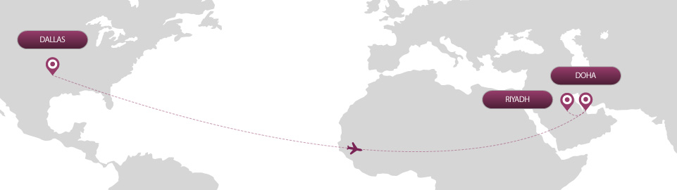 image of route map for flights from dallas to riyadh
