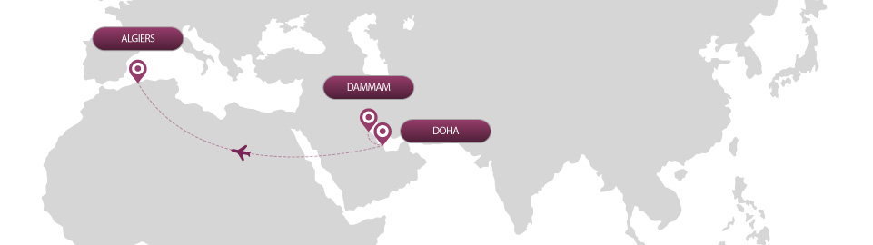 image of route map for flights from dammam to algiers