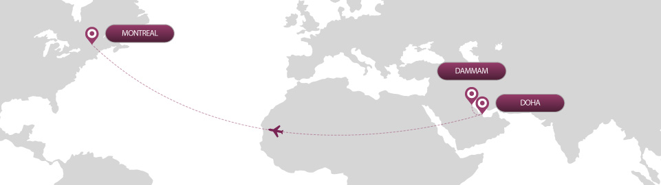 image of route map for flights from dammam to montreal