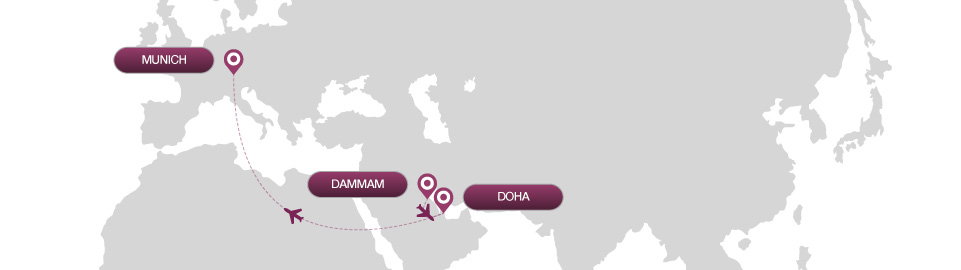 image of route map for flights from dammam to munich