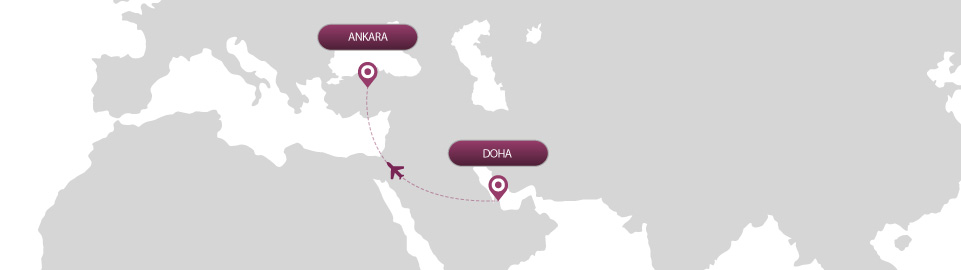 image of route map for flights from doha to ankara