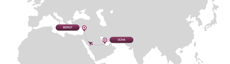image of route map for flights from doha to beirut