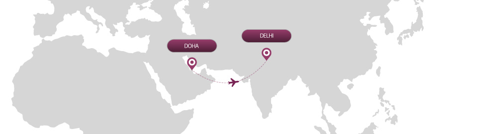 image of route map for flights from doha to delhi