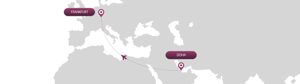 image of route map for flights from doha to frankfurt