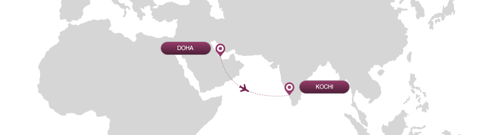 image of route map for flights from doha to kochi