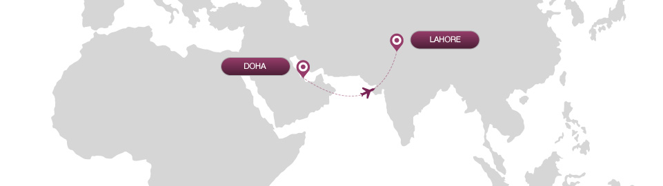 image of route map for flights from doha to lahore