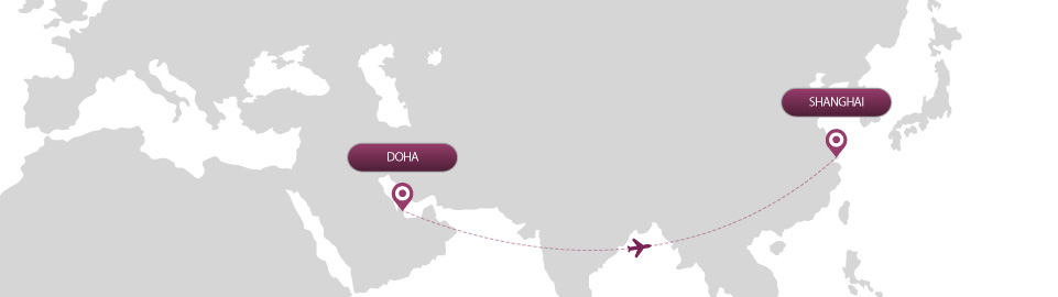 image of route map for flights from doha to shanghai