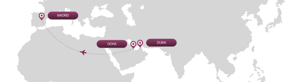 image of route map for flights from dubai to madrid