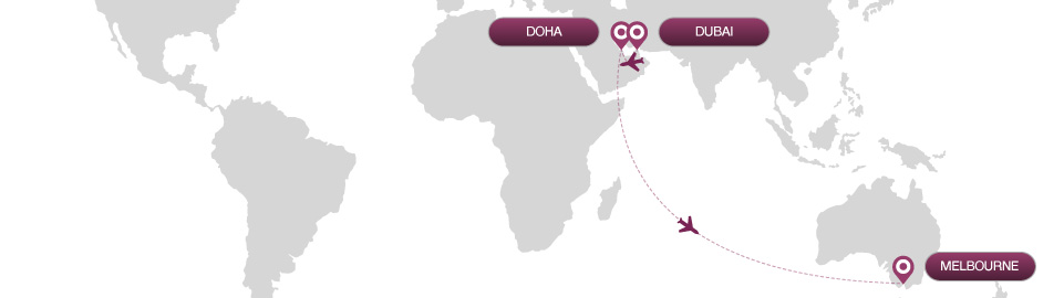 image of route map for flights from dubai to melbourne