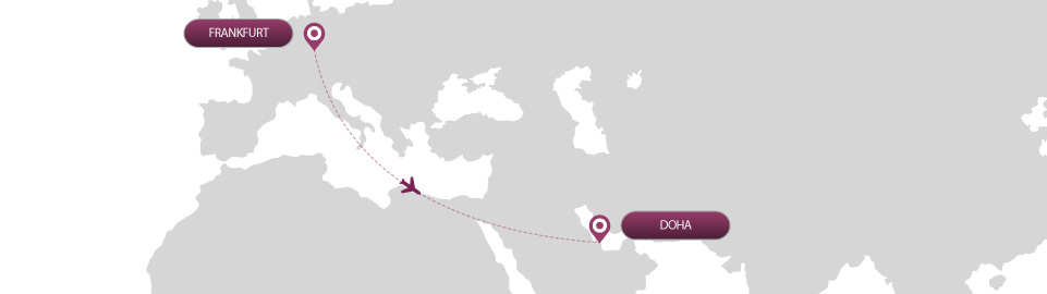 image of route map for flights from frankfurt to doha