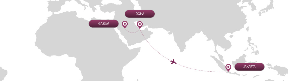 image of route map for flights from gassim to jakarta