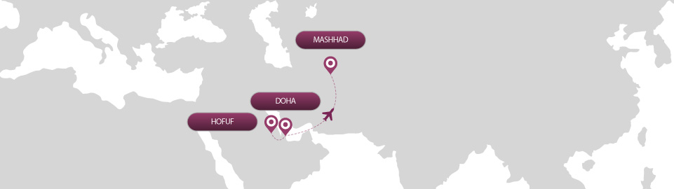 image of route map for flights from hofuf to mashhad