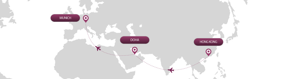 image of route map for flights from hong kong to munich