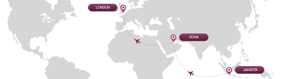 image of route map for flights from jakarta to london