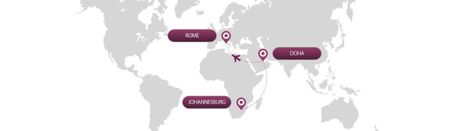 image of route map for flights from johannesburg to rome