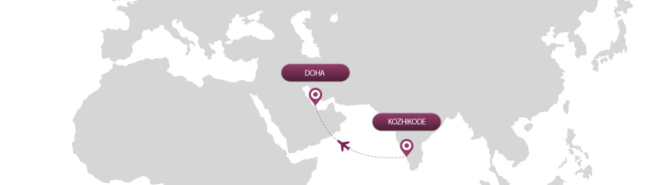 image of route map for flights from kozhikode to doha