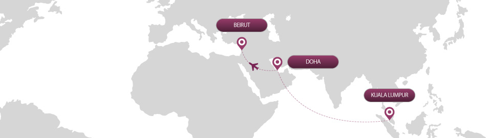 image of route map for flights from kuala lumpur to beirut