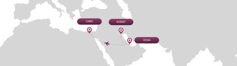 image of route map for flights from kuwait to cairo