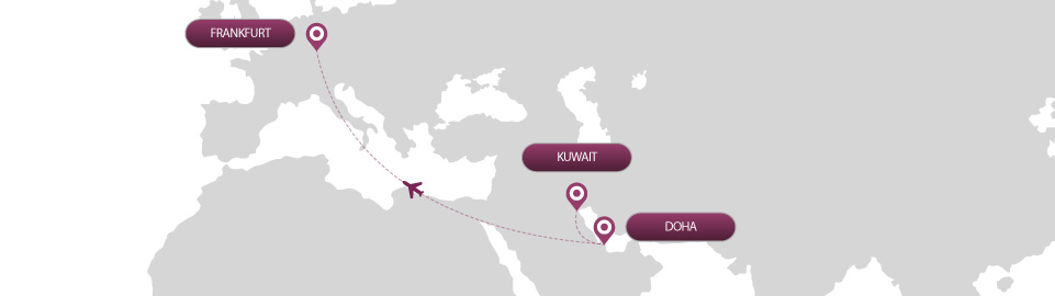 image of route map for flights from kuwait to frankfurt