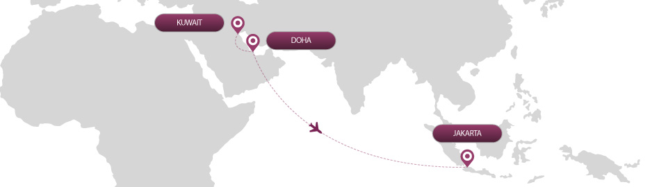 image of route map for flights from kuwait to jakarta