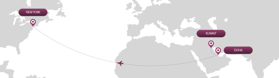 image of route map for flights from kuwait to new york