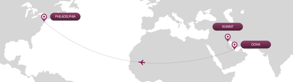 image of route map for flights from kuwait to philadelphia