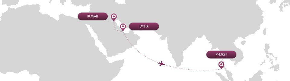 image of route map for flights from kuwait to phuket