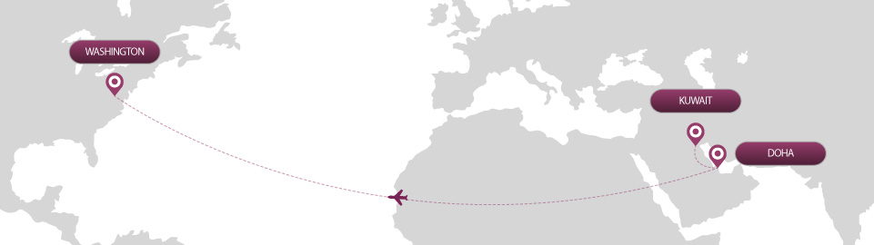 image of route map for flights from kuwait to washington