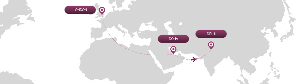 image of route map for flights from london to delhi